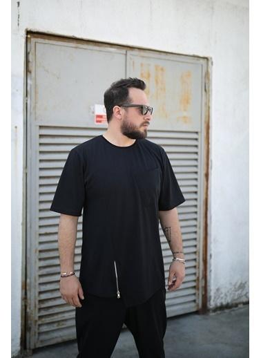 Densmood DKU.4698-2 Densmood Oversize Fermuar Detay T-Shirt Siyah